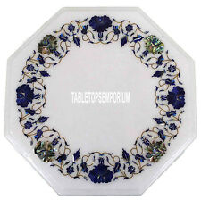 "16"" White Octagon Marble Table Center Lapis Stones Marquetry Work Top Art"