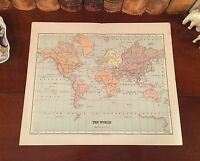 Original 1885 Antique Map THE WORLD showing Mercator's Projection of the Earth