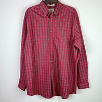LL Bean Men's Wrinkle Resistant Red Plaid Long Sleeve Button Up Shirt Size Large