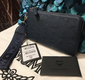 Authentic MCM Luggage Navy Blue Leather Pouch Clutch Bag Large Zipped Wallet NEW