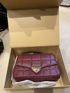 Michael Kors -100% Soho Large Quilted Leather Shoulder Berry Bag -New + Tags