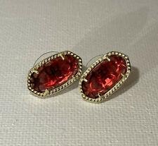 Kendra Scott Ellie Ruby Red Stud Earrings Gold Tone July