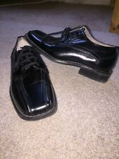 Stacy Adams Boys Black Formal Dress Shoes Lace Up Size 11m Youth