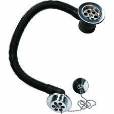 "Chrome Bath Waste Drain & Overflow Fitting Chrome Plug & Chain 1-1/2"" 38mm"