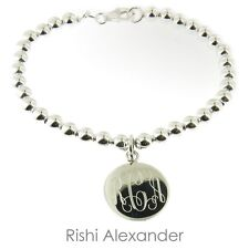 925 Sterling Silver Monogram Ball Bead Bracelet