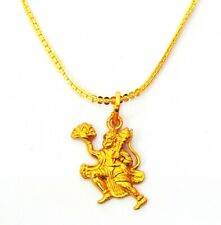 Indian Bajrang Bali Pendant Golden Chain God Amulet Religious Hanuman Necklace