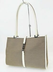 Auth GUCCI Jackie O Beige Canvas Off White Leather Tote Handbag Purse #39909
