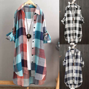 Plus Size Womens Long Sleeve Check Tunic T Shirts Tops Ladies Baggy Blouse Dress