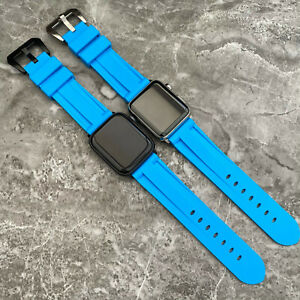 For Apple watch SE 6 5 4 44mm Heavy Duty Blue Rubber Silicone watch Strap Band