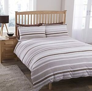 Duvet Cover Set With Pillowcases Geo Stripes Beige Double Size