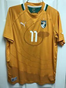 EUC 2012/13 Ivory Coast #11 Didier Drogba Home XL Jersey Puma Orange