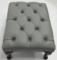 Chesterfield Deep Buttoned Queen Anne Footstool 100% Italian Grey Leather