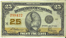 Dominion of Canada 1923 25 Cents Shinplaster McCavour-Saunders Good VF