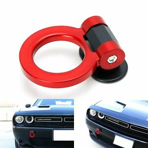 Universal Red Ring Track Racing Style Tow Hook Look Decoration For Any Car SUV