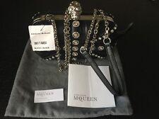 NWT Alexander McQueen Black Union Jack Jeweled Skull Clutch Crossbody