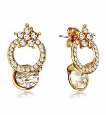 AU Brilliant Yellow Gold Created Diamond Small Stud Butterfly earrings 1UK125AU4