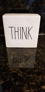 RAE DUNN by Magenta THINK/EVOLVE Ceramic Block Paperweight / Home Accent/Desk.