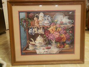 Home Interiors  Vintage Barbara Mock Still Life Victorian Floral Litho 26.5x22.5
