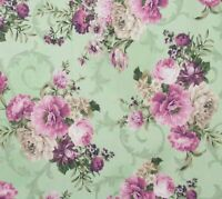 Mint Pink Purple Shabby Floral Cotton Quilting Fabric Meredith Robert Kaufman