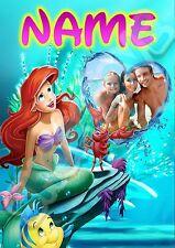 Disney Princess Ariel, Little Mermaid Personalised Photo, Name, A3 Wall Art