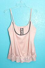 Cami Sz L Pink Black Tuxedo Details Ruffle Sleeveless Unbranded Top Lingerie