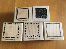 5 NEW 2003 Retired Stampin Up Wood Rubber Mounted Stamp Square Frames