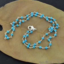 "Natural Turquoise Gemstone Beads 18"" Necklace Chain Sterling Silver Jewelry Sale"