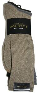 Premier GoldToe Fluffies Crew Socks 3 Pair Tan Grey Black 2382S Shoe Size 6-12.5