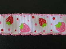 "strawberry crochet grosgrain ribbon 1"" per 1 m hair scrapbooking cards"