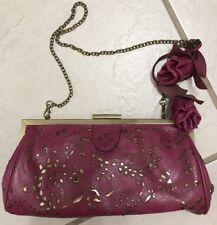Patricia Nash Raspberry Gold Tooled Italian Leather Crossbody Removab Chain Bag