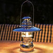 "Lámpara de luz fuerte Petromax HK 500 petroleo Camping Latón ""Cromo"" con Parasol"
