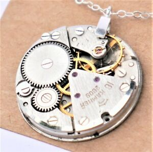 large round vintage watch mechanism necklace with sterling silver chain
