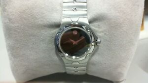 New Ladies Movado Sports Edition Stainless Watch Black Museum Dial #0604459