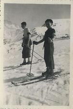 PHOTO ANCIENNE - VINTAGE SNAPSHOT - SKI NEIGE MONTAGNE ENFANT - SKIING MOUNTAIN