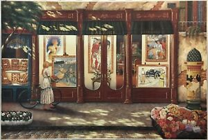 John O'Brien Canvas of Woman Viewing Antique Posters--Way Below Gallery Price