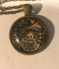 "Clock Work Gears 20"" Bronze Colored Necklace"