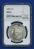 1882 S NGC MS64 Morgan Silver Dollar $1 US Mint 1882-S NGC MS-64 PQ Coin !