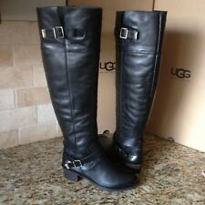 UGG Bess Black Leather Over the Knee High Buckle Boots Size US 8.5 Womens NIB