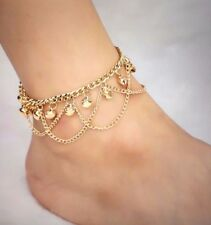 WomenTassel Chain Bells Sound Gold Metal Chain Anklet Ankle Bracelet
