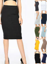 S-XL Women's Pencil Skirt Solid Stretch Cotton Knee Length Midi High Waisted