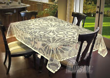"""Tablecloth Lace Dining Overlay Tea  Crochet Effect 52"""" x 72""""  Table Cover"""