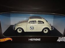 Hot Wheels Herbie The Love Bug Volkswagen Beetle 1962 #53 Cream White 1/18 BLY59