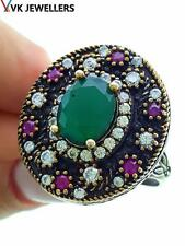 Turkish Traditional Jewelry 925 Silver Handmade Emerald Sultan Ring Sz 7.5 R3105