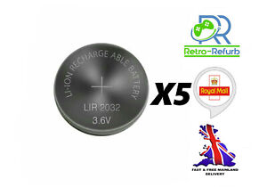 5 X LIR2032 Rechargeable Battery Coin Button Batteries 3.6V - FAST FREE UK POST