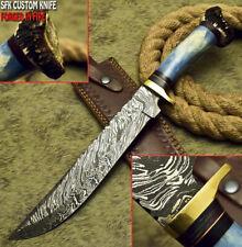 SFK CUTLERY CUSTOM HANDMADE DAMASCUS HUNTING BOWIE KNIFE CAMEL BONE & CROWN