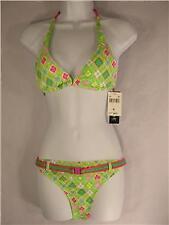 Rampage pink green bikini halter swimsuit Swimwear L 12