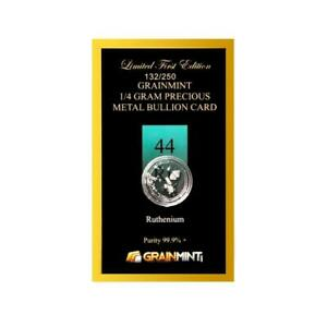 Ruthenium Metal Crystal 1/4 Gram 99.9% Pure limited numbered Bullion Card