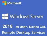 50 User CALs - Remote Desktop Services (RDS) for Server 2016 Datacenter