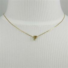 Gold Block Letter Initial F Necklace