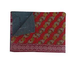 Vintage Kantha Embroidery Handmade Reversible Blanket Bedspread Throw 150x225cm